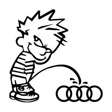 Bad boy Calvin pee on Audi