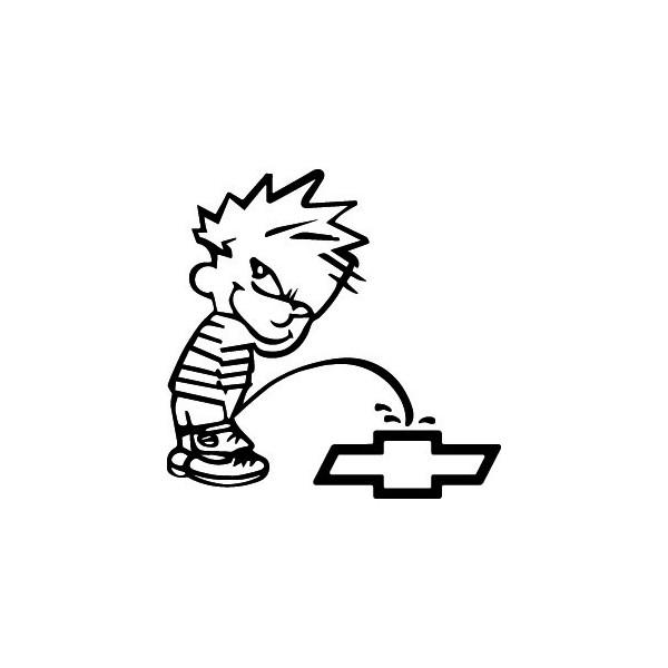 Bad boy Calvin pee on Chevy