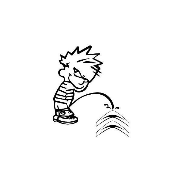 Bad boy Calvin pee on Citroen