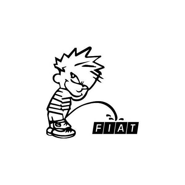 Stickers Bad boy Calvin pee on Fiat