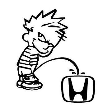 Stickers Bad boy Calvin pee on Honda