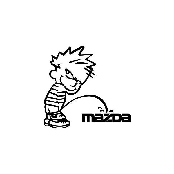 Decals Bad boy Calvin pee on Mazda