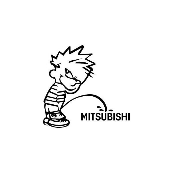 Stickers Bad boy fait pipi sur Mitsubishi