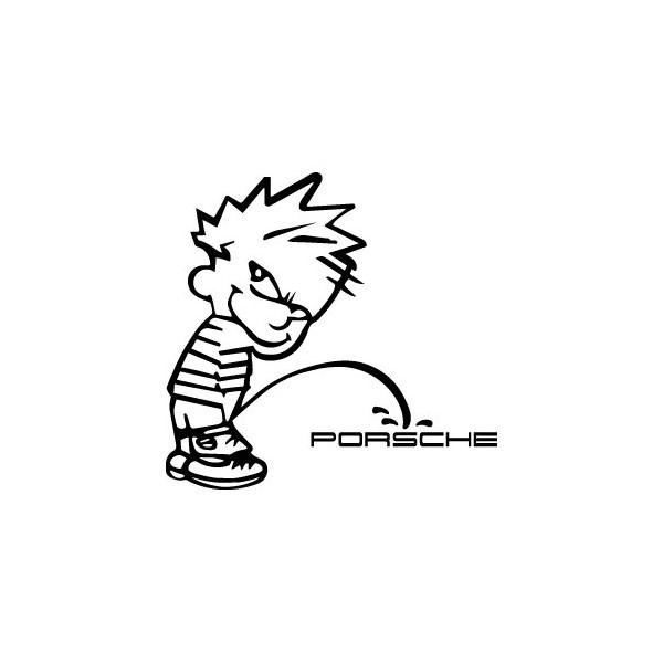 Decals Bad boy Calvin pee on Porsche