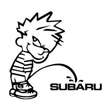 Decals Bad boy Calvin pee on Subaru