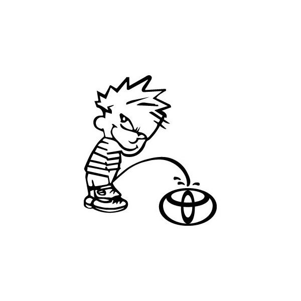 Decals Bad boy Calvin pee on Toyota