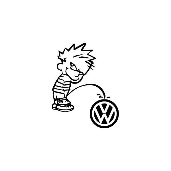 Stickers Bad boy Calvin pee on Volkswagen