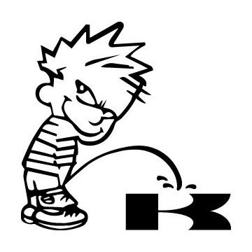 Stickers Bad boy Calvin pee on Kawasaki