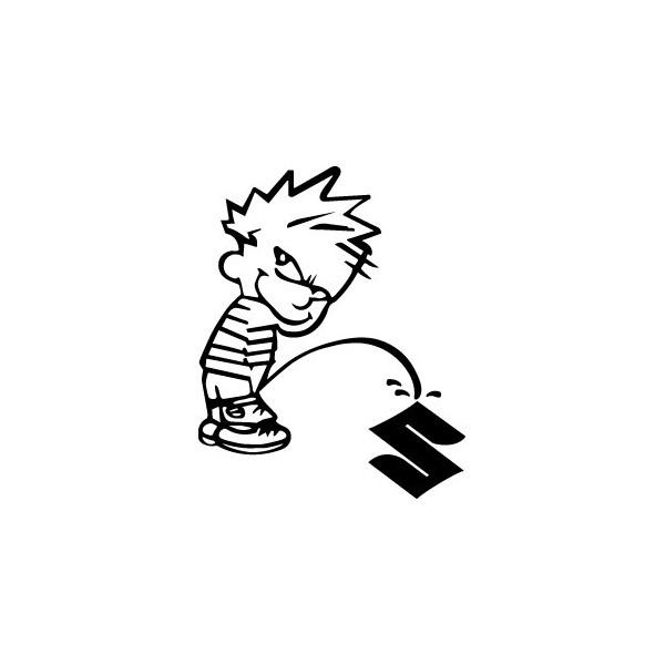 Stickers Bad boy Calvin pee on Suzuki