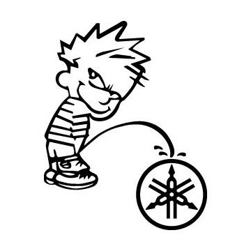 Decals Bad boy Calvin pee on Yamaha
