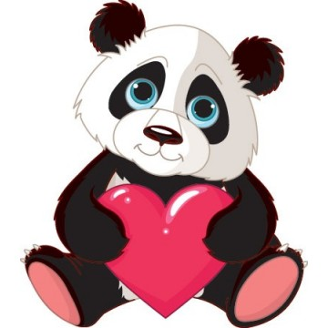 The panda and Heart