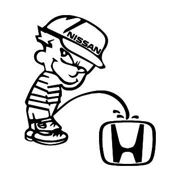Bad boy Nissan pee on Honda