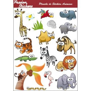Planche de Stickers Animaux...