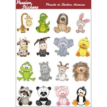 Planche de Stickers Animaux
