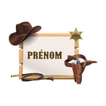 Prénom Personnalisable Cowboy