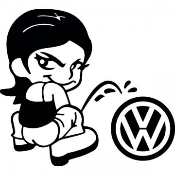 Bad girl pee on Volkswagen