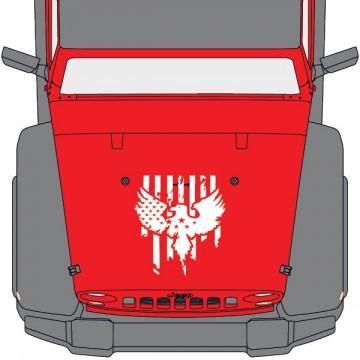 Jeep Wrangler Hood USA Flag...