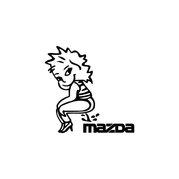 Bad girl pee on Mazda