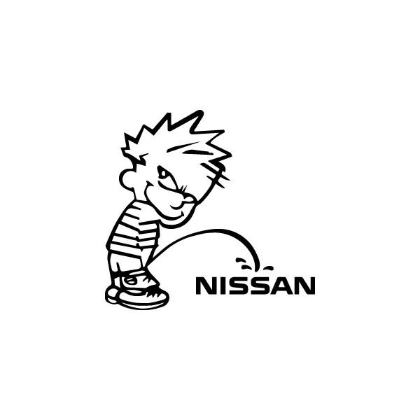 Bad boy Calvin pee on Nissan