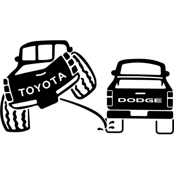 Toyota 4wd Pee On Dodge Funny Humor Decals Cars Passion Stickers